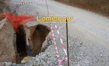 """Αφανός Λαμίας: Ο δρόμος """"φαγώθηκε""""-κινδυνεύουν οδηγοί και πεζοί (pics)"""