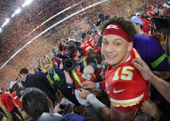 MIAMI, FLORIDA - FEBRUARY 02: Patrick Mahomes #15 of the Kansas City Chiefs celebrates after defeating the San Francisco 49ers 31-20 in Super Bowl LIV at Hard Rock Stadium on February 02, 2020 in Miami, Florida. (Photo by Tom Pennington/Getty Images)