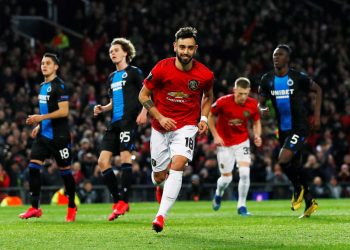 Soccer Football - Europa League - Round of 32 Second Leg - Manchester United v Club Brugge - Old Trafford, Manchester, Britain - February 27, 2020 Manchester United's Bruno Fernandes celebrates scoring their first goal Action Images via Reuters/Jason Cairnduff