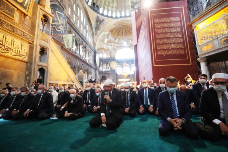 Turkey's President Tayyip Erdogan attends Friday prayers at Hagia Sophia Grand Mosque, for the first time after it was once again declared a mosque after 86 years, in Istanbul, Turkey, July 24, 2020. Murat Cetinmuhurdar/PPO/Handout via REUTERS THIS IMAGE HAS BEEN SUPPLIED BY A THIRD PARTY. NO RESALES. NO ARCHIVES.
