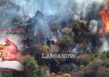 Φωτογραφία από την φωτιά στα Κύθηρα όπου ο Γιάννης δίνει την μάχη της κατάσβεσης