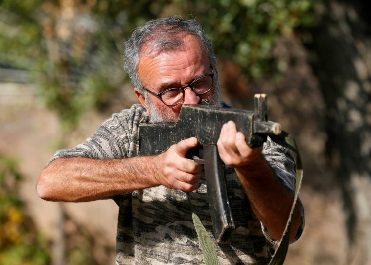 An Armenian military volunteer undergoes combat training at a camp, in the course of a conflict against Azerbaijan's armed forces over the breakaway region of Nagorno-Karabakh, in Yerevan, Armenia October 27, 2020. Picture taken October 27, 2020. REUTERS/Gleb Garanich