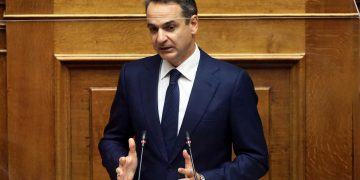 Greek Prime Minister Kyriakos Mitsotakis speaks during a parliamentary session on the coronavirus pandemic, as the coronavirus disease (COVID-19) outbreak continues in Athens, Greece, November 12, 2020. REUTERS/Costas Baltas