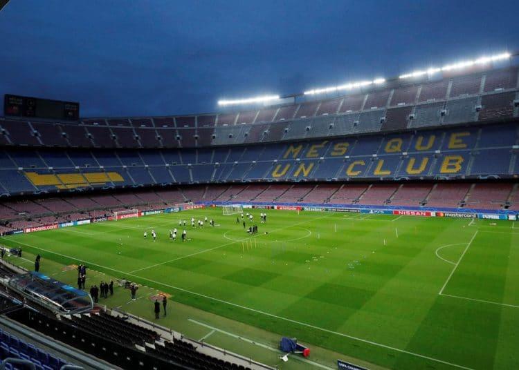 Soccer Football - Champions League - Paris St Germain Training - Camp Nou, Barcelona, Spain - February 15, 2021 General view inside the stadium during training REUTERS/Albert Gea