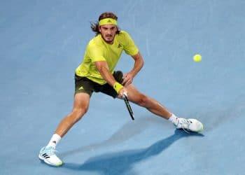 Tennis - Australian Open - Melbourne Park, Melbourne, Australia, February 17, 2021 Greece's Stefanos Tsitsipas in action during his quarter final match against Spain's Rafael Nadal REUTERS/Loren Elliott