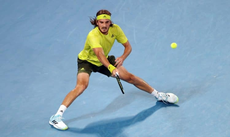 Tennis - Australian Open - Melbourne Park, Melbourne, Australia, February 17, 2021 Greece's Stefanos Tsitsipas in action during his quarter final match against Spain's Rafael Nadal REUTERS/Loren Elliott