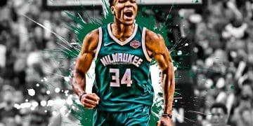 giannis antetokounmpo greek basketball player milwaukee bucks forward white green paint splashes