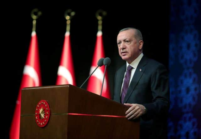 FILE PHOTO: Turkish President Tayyip Erdogan speaks during a meeting to unveil the Human Rights Action Plan?in Ankara, Turkey March 2, 2021. Presidential Press Office/Handout via REUTERS ATTENTION EDITORS - THIS PICTURE WAS PROVIDED BY A THIRD PARTY. NO RESALES. NO ARCHIVE./File Photo