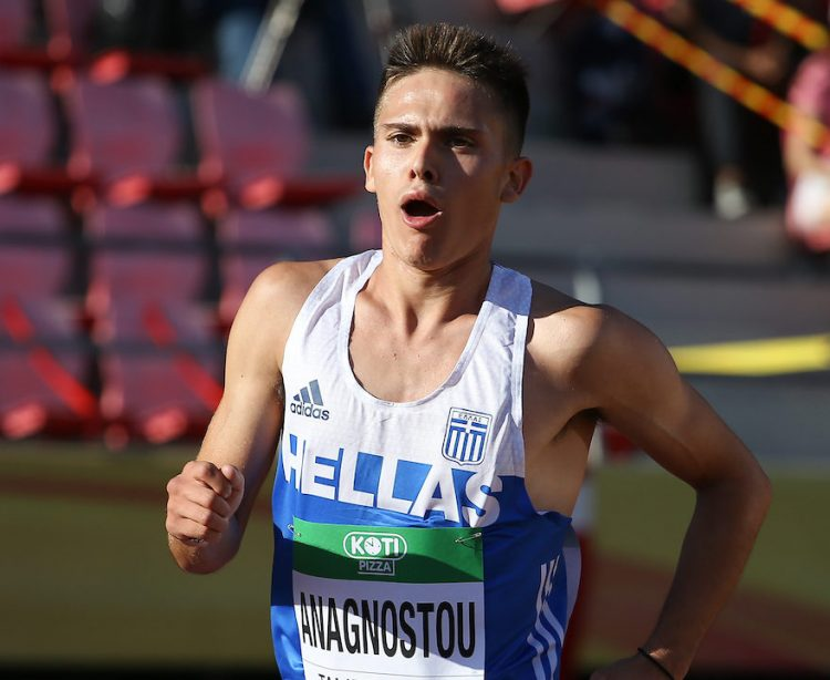 TAMPERE, FINLAND - JULY 10: Marios Anagnostou of Greece in the mens 10000m final during the afternoon session on day 1 of the IAAF World U20 Championships at Tampere Stadium on July 10, 2018 in Tampere, Finland. (Photo by Roger Sedres/Gallo Images)