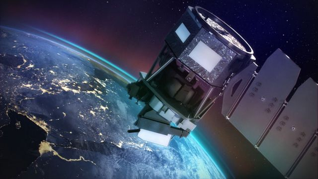 epa06785611 A handout image made available by NASA shows an artist concept of NASA's Ionospheric Connection Explorer (ICON)(issued 04 June 2018).  The ICON spacecraft will monitor colorful swaths of light called airglow and will track how Earth's weather and space weather interact.  ICON is set to lift off from the Kwajalein Atoll in the Marshall Islands on 14 June 2018.  EPA/NASA HANDOUT  HANDOUT EDITORIAL USE ONLY/NO SALES