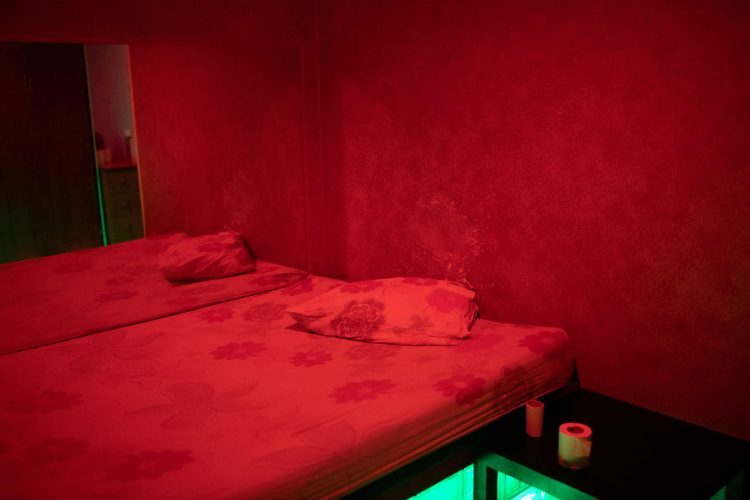 A bed in a brothel room, after the Greek government released health and safety guidelines for sex workers against the spread of coronavirus disease (COVID-19), in Athens, Greece, June 16, 2020. REUTERS/Alkis Konstantinidis