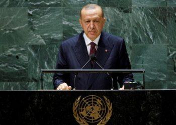 Turkish President Tayyip Erdogan addresses the 76th Session of the U.N. General Assembly in New York City, U.S., September 21, 2021.  REUTERS/Eduardo Munoz/Pool