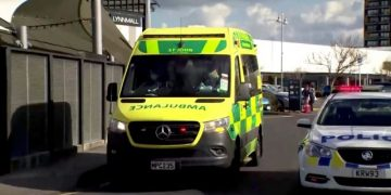 A screen grab shows an ambulance outside a shopping mall following a knife attack in Auckland, New Zealand August 3, 2021. TVNZ via Reuters TV  ATTENTION EDITORS - NEW ZEALAND OUT. NO COMMERCIAL OR EDITORIAL SALES IN NEW ZEALAND. NO RESALES. NO ARCHIVES. Digital: NO USE NEW ZEALAND INTERNET SITES / ANY INTERNET SITE OF ANY NEW ZEALAND OR AUSTRALIA BASED MEDIA ORGANISATIONS OR MOBILE PLATFORMS